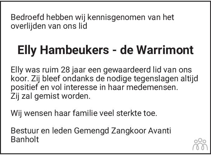 Overlijdensbericht van Elly Hambeukers-de Warrimont in De Limburger