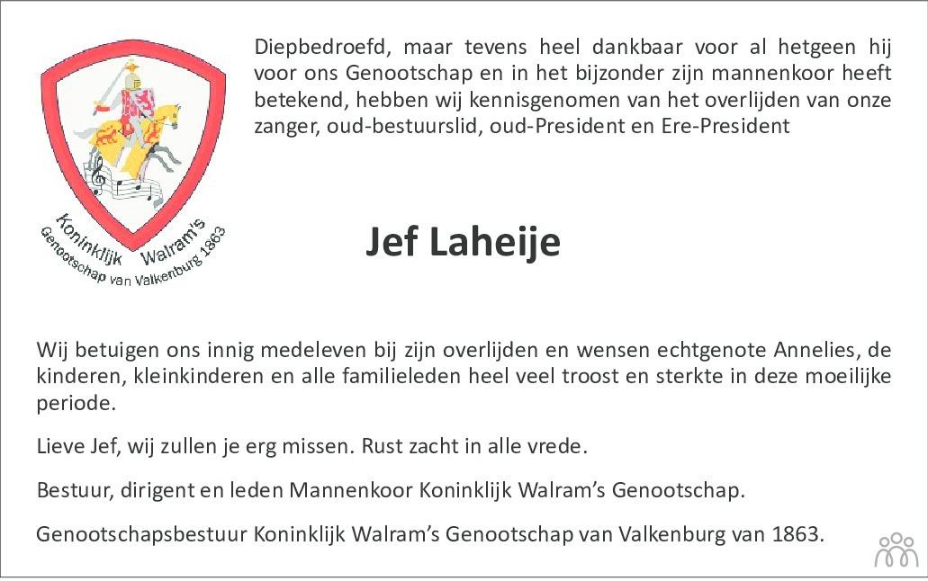 Overlijdensbericht van Jef Laheije in De Limburger