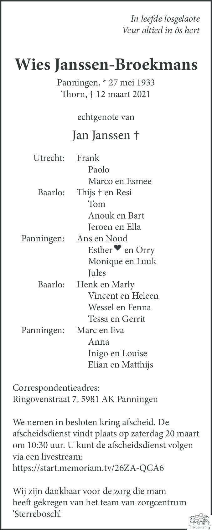 Overlijdensbericht van Wies Janssen-Broekmans in De Limburger