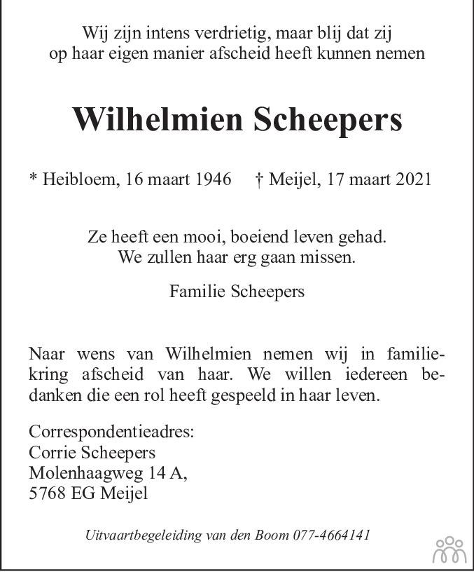 Overlijdensbericht van Wilhelmien Scheepers in De Limburger