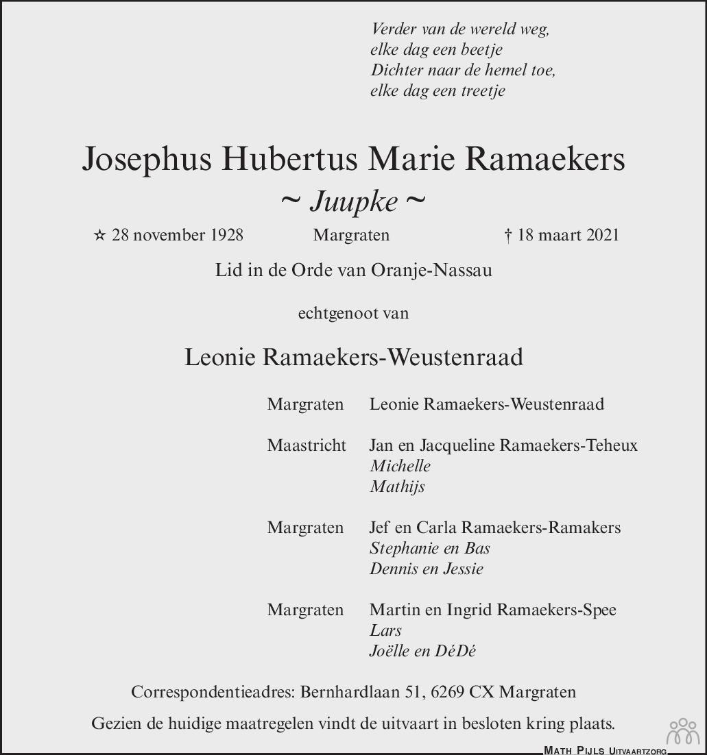 Overlijdensbericht van Josephus Hubertus Marie (Juupke) Ramaekers in De Limburger