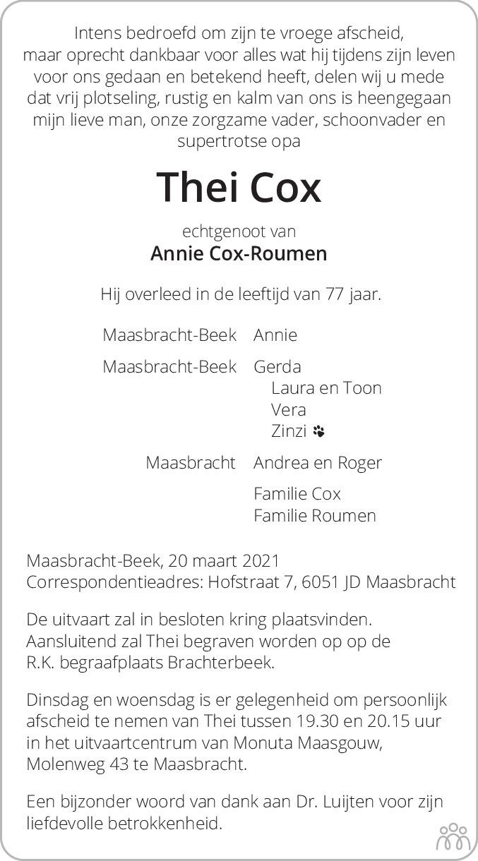 Overlijdensbericht van Thei Cox in De Limburger