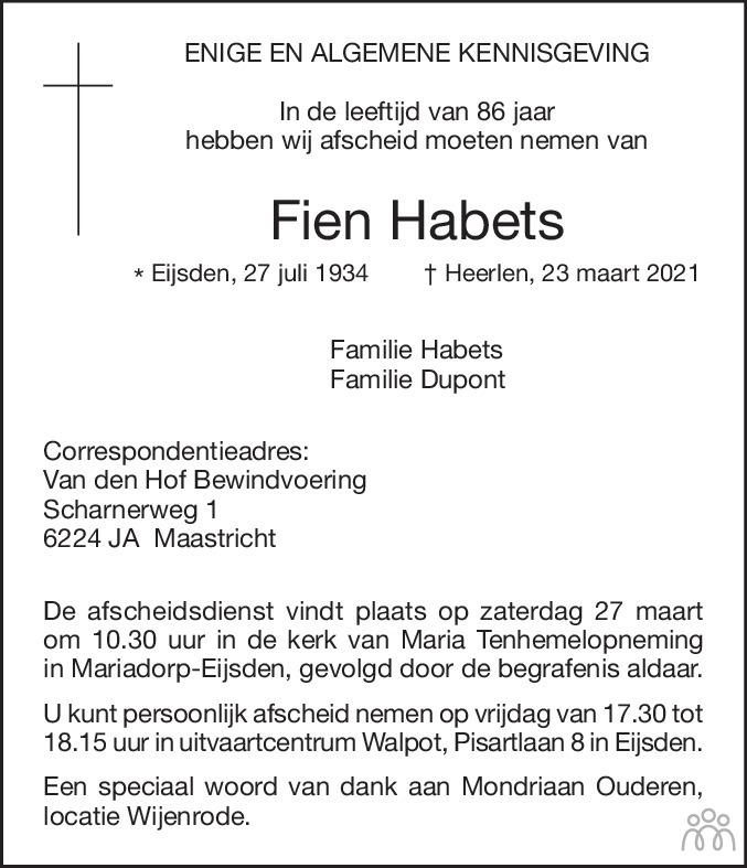 Overlijdensbericht van Fien Habets in De Limburger