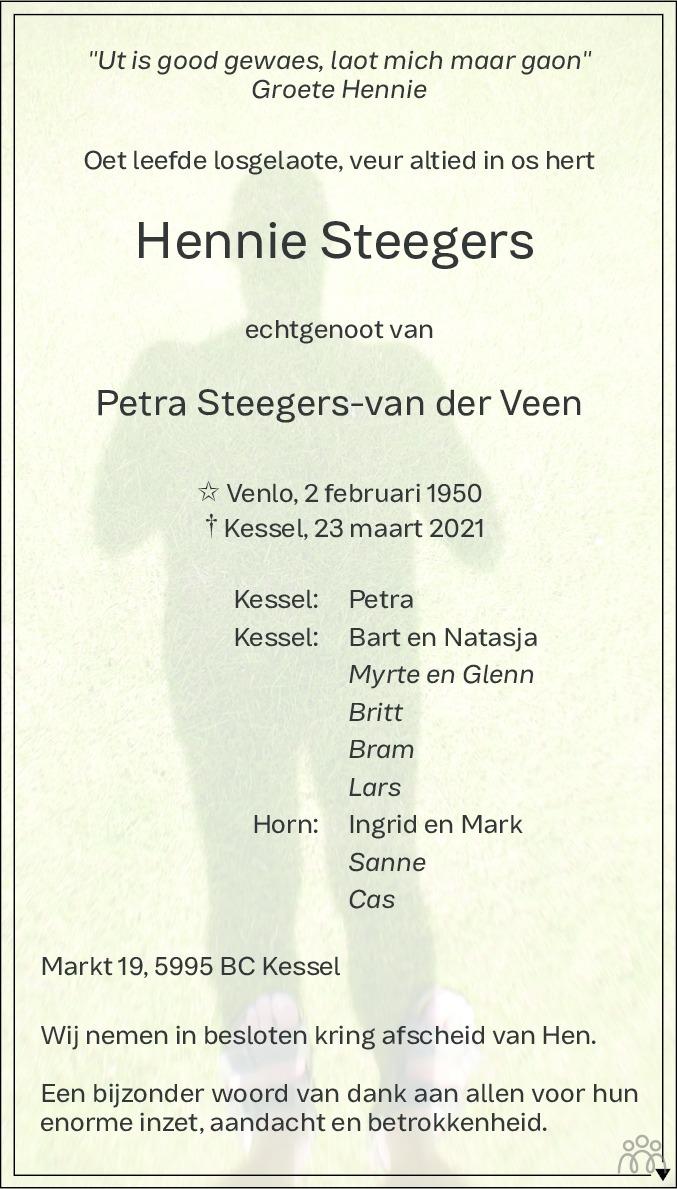 Overlijdensbericht van Hennie Steegers in De Limburger