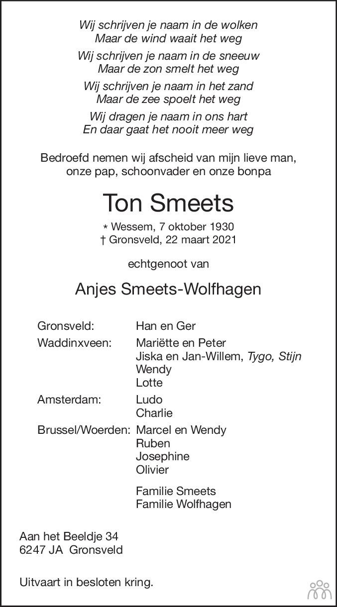 Overlijdensbericht van Ton Smeets in De Limburger