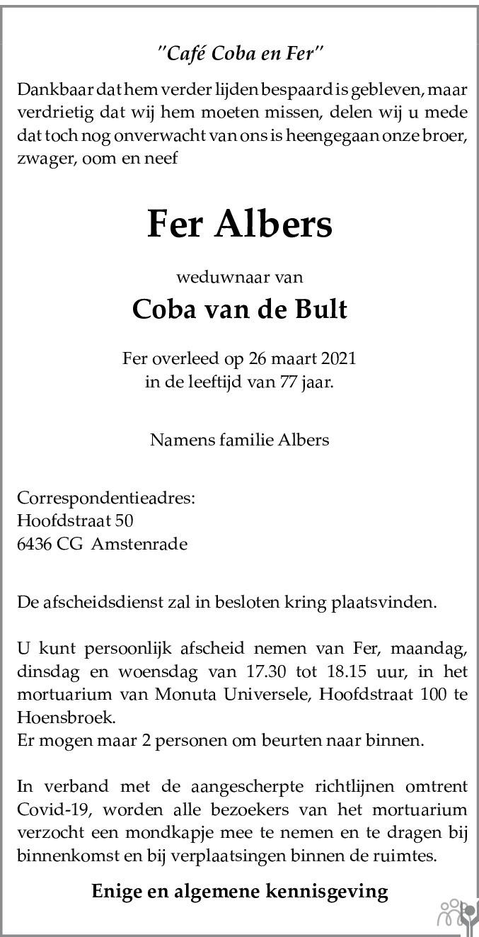 Overlijdensbericht van Fer Albers in De Limburger