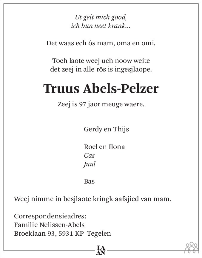 Overlijdensbericht van Truus Abels-Pelzer in De Limburger
