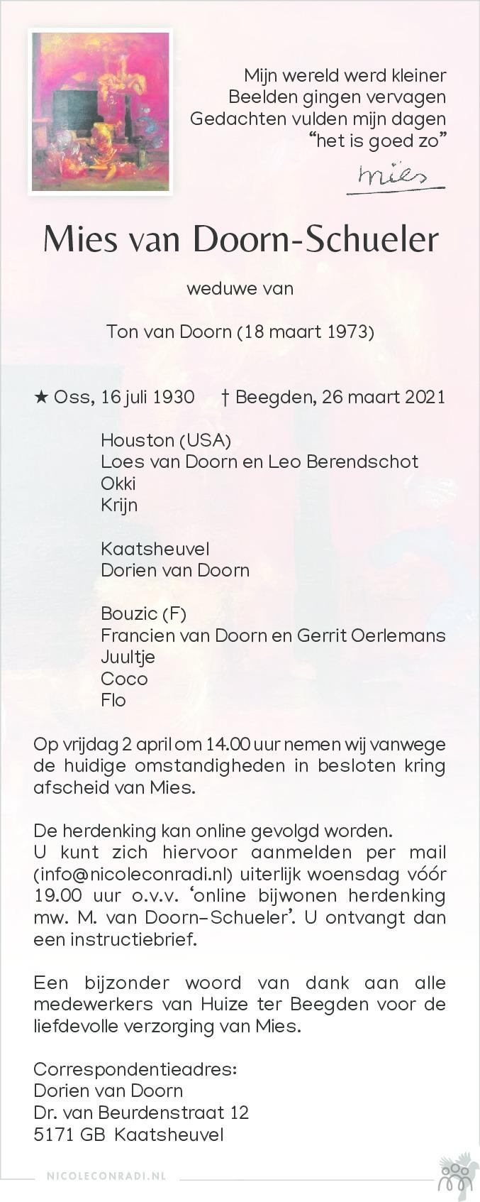 Overlijdensbericht van Mies van Doorn-Schueler in De Limburger