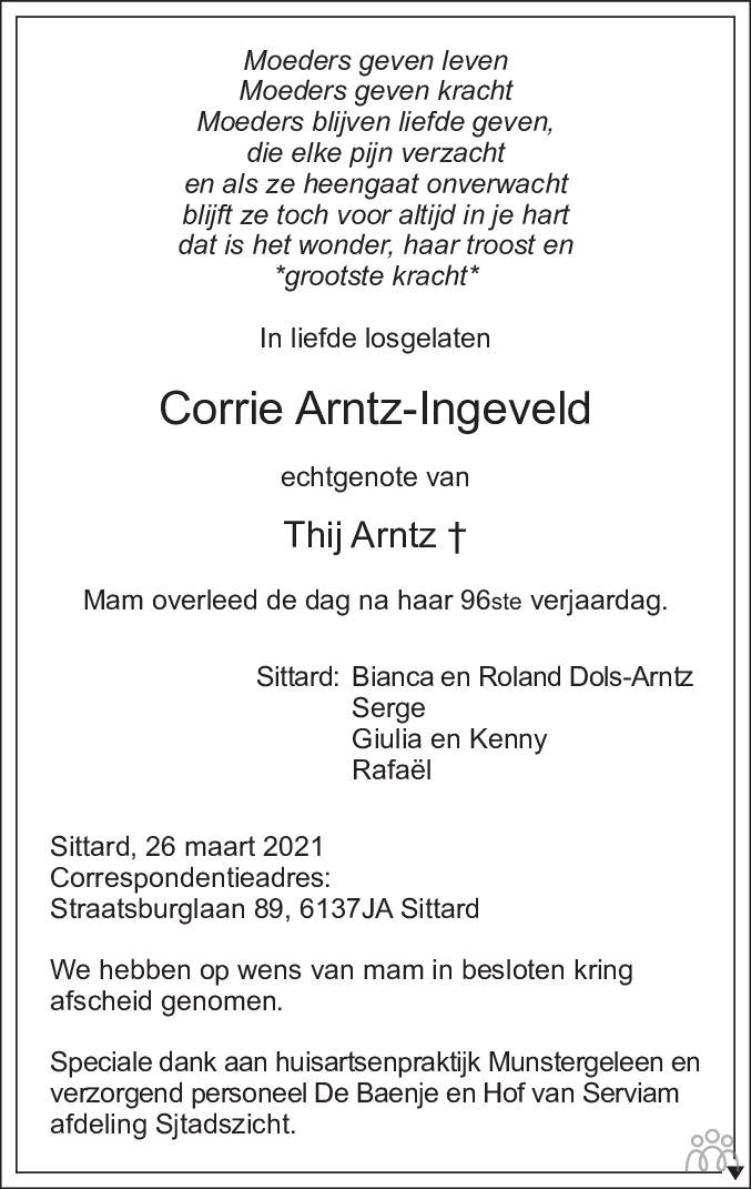 Overlijdensbericht van Corrie Arntz-Ingeveld in De Limburger