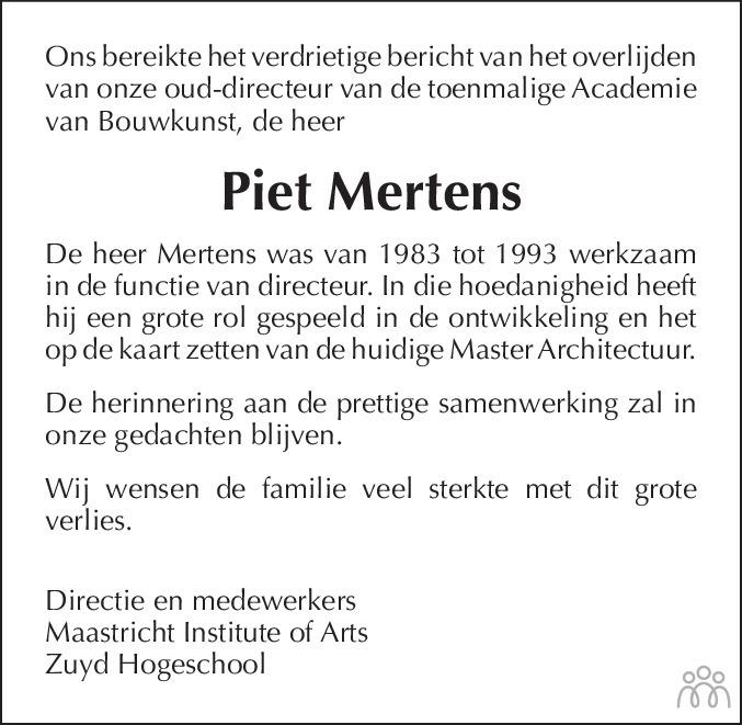 Overlijdensbericht van Piet Mertens in De Limburger