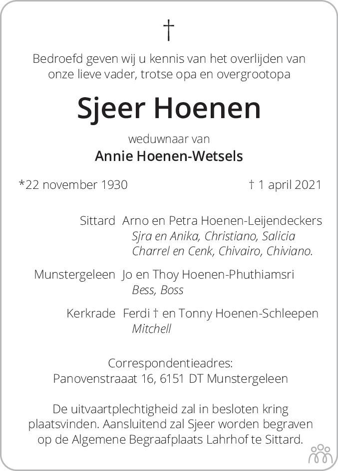 Overlijdensbericht van Sjeer Hoenen in De Limburger