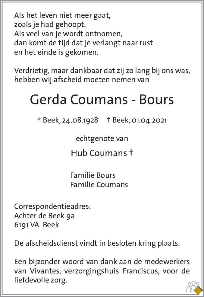 Overlijdensbericht van Gerda Coumans-Bours in De Limburger