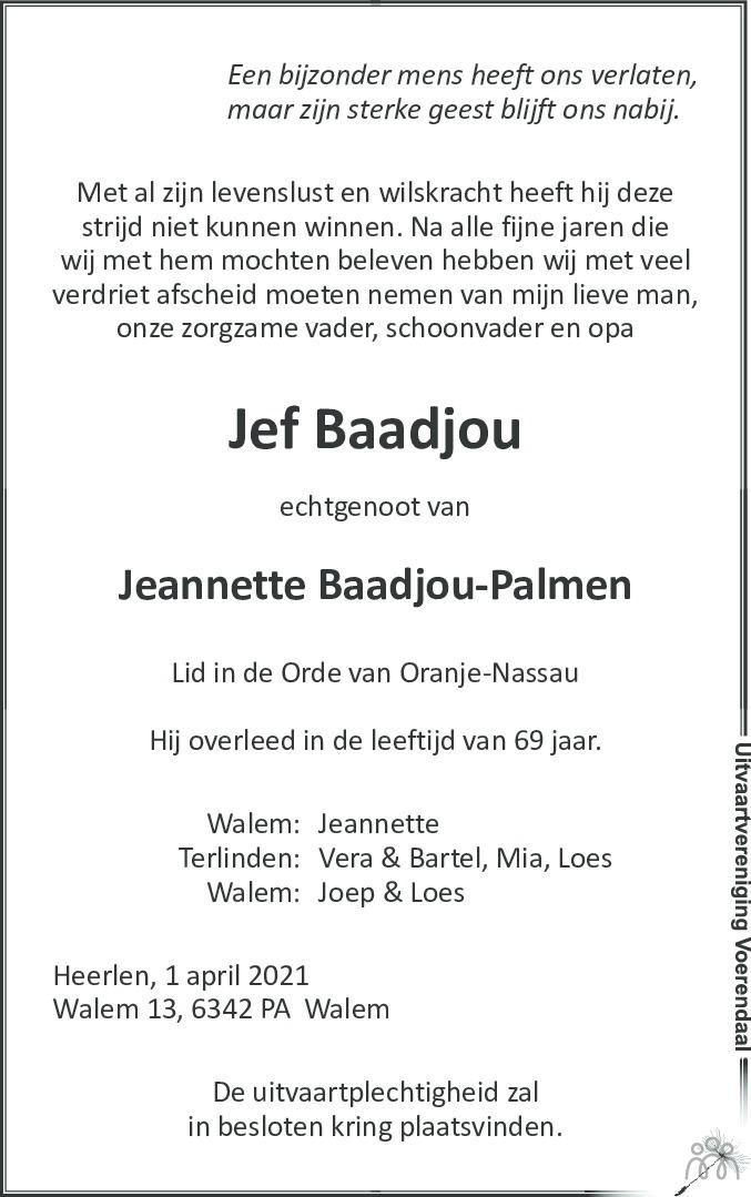 Overlijdensbericht van Jef Baadjou in De Limburger