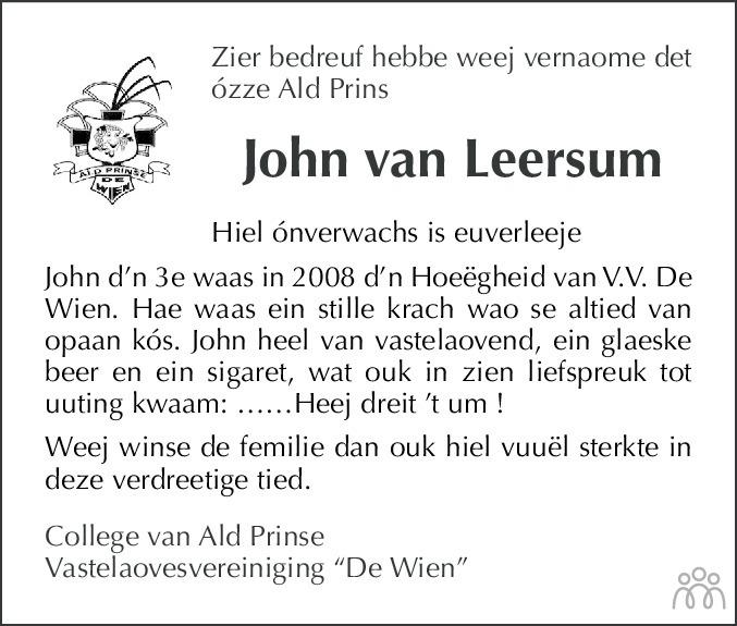 Overlijdensbericht van John van Leersum in De Limburger