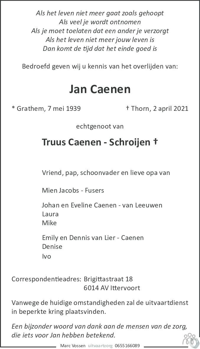 Overlijdensbericht van Jan Caenen in De Limburger