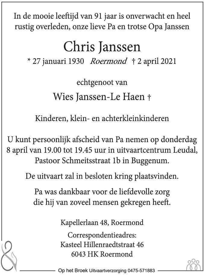 Overlijdensbericht van Chris Janssen in De Limburger