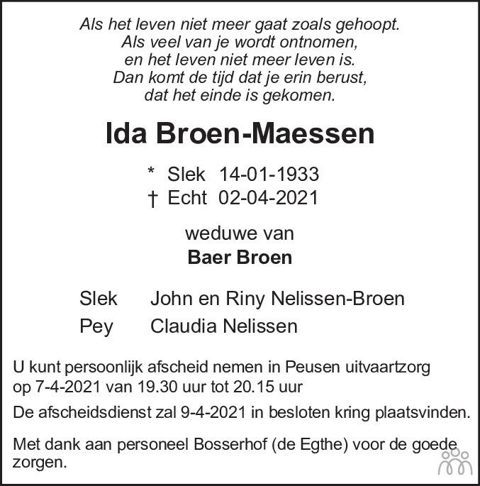 Overlijdensbericht van Ida Broen-Maessen in De Limburger