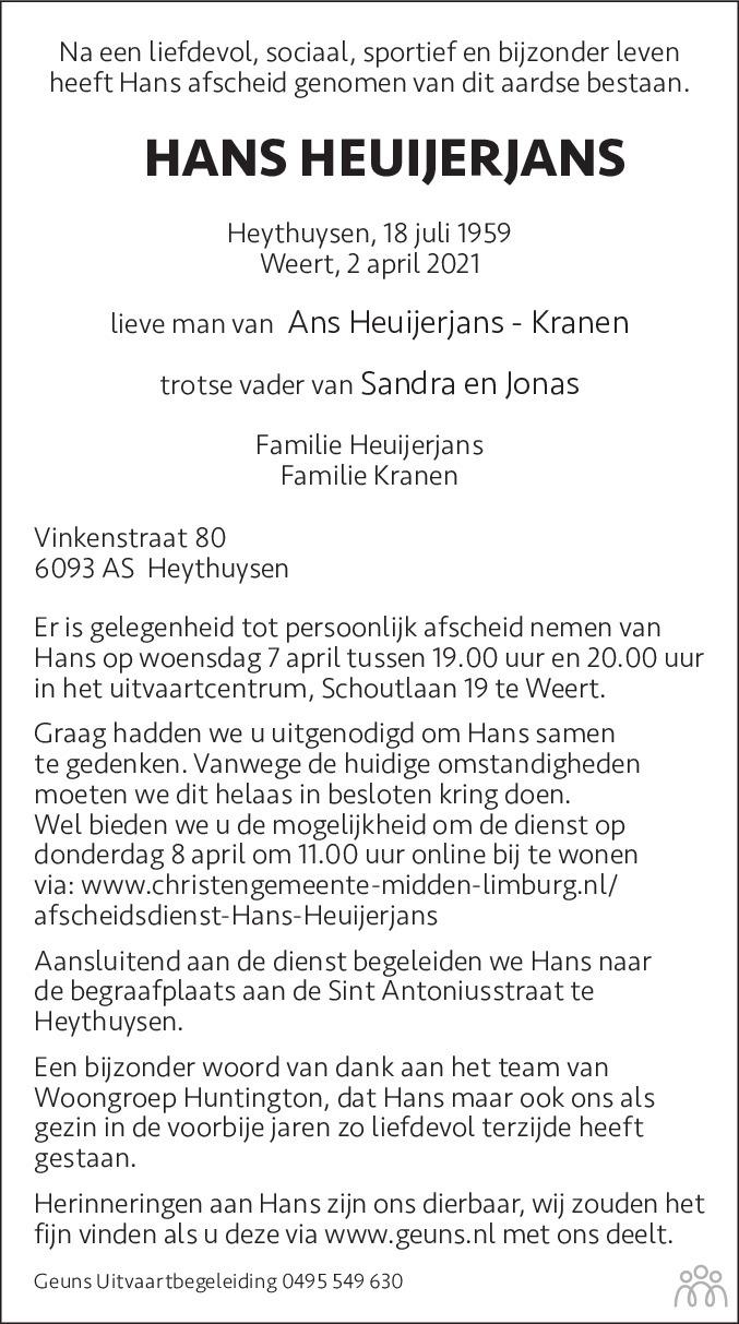 Overlijdensbericht van Hans Heuijerjans in De Limburger
