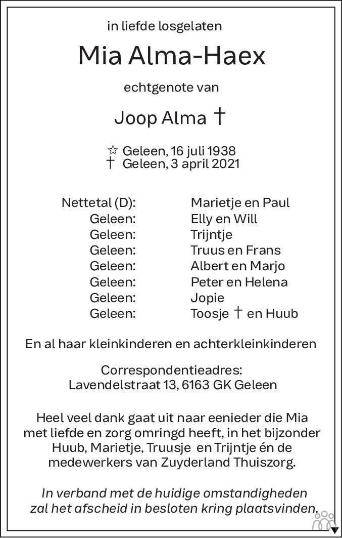 Overlijdensbericht van Mia Alma-Haex in De Limburger