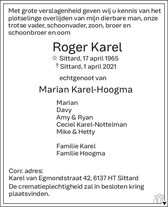 Overlijdensbericht van Roger Karel in De Limburger