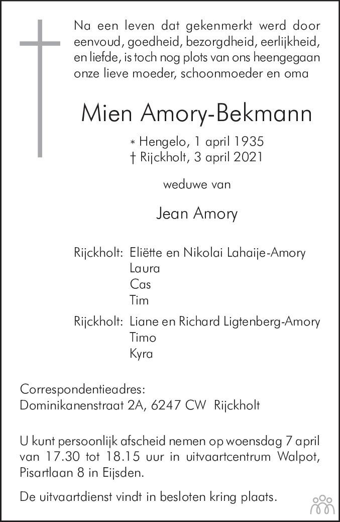 Overlijdensbericht van Mien Amory-Bekmann in De Limburger