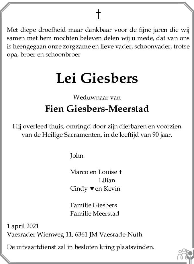 Overlijdensbericht van Lei Giesbers in De Limburger