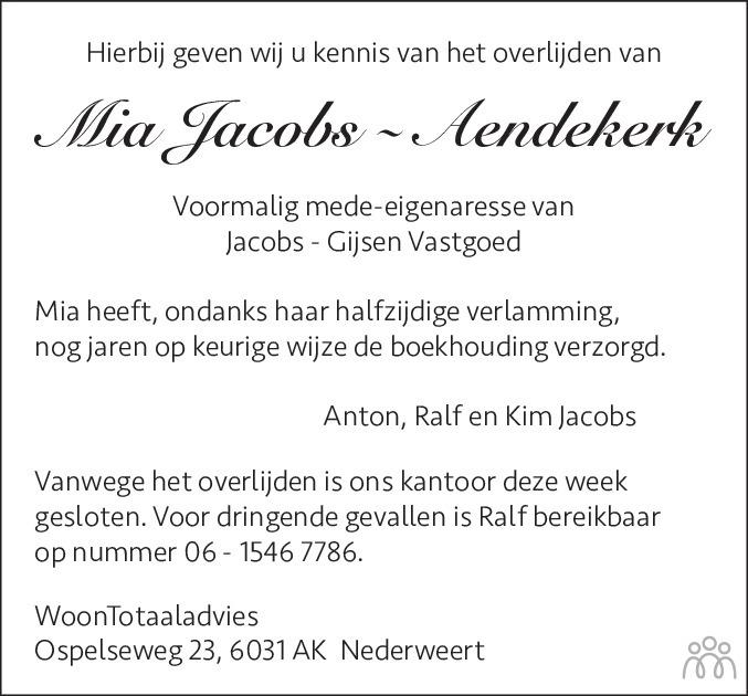 Overlijdensbericht van Mia Jacobs-Aendekerk in De Limburger