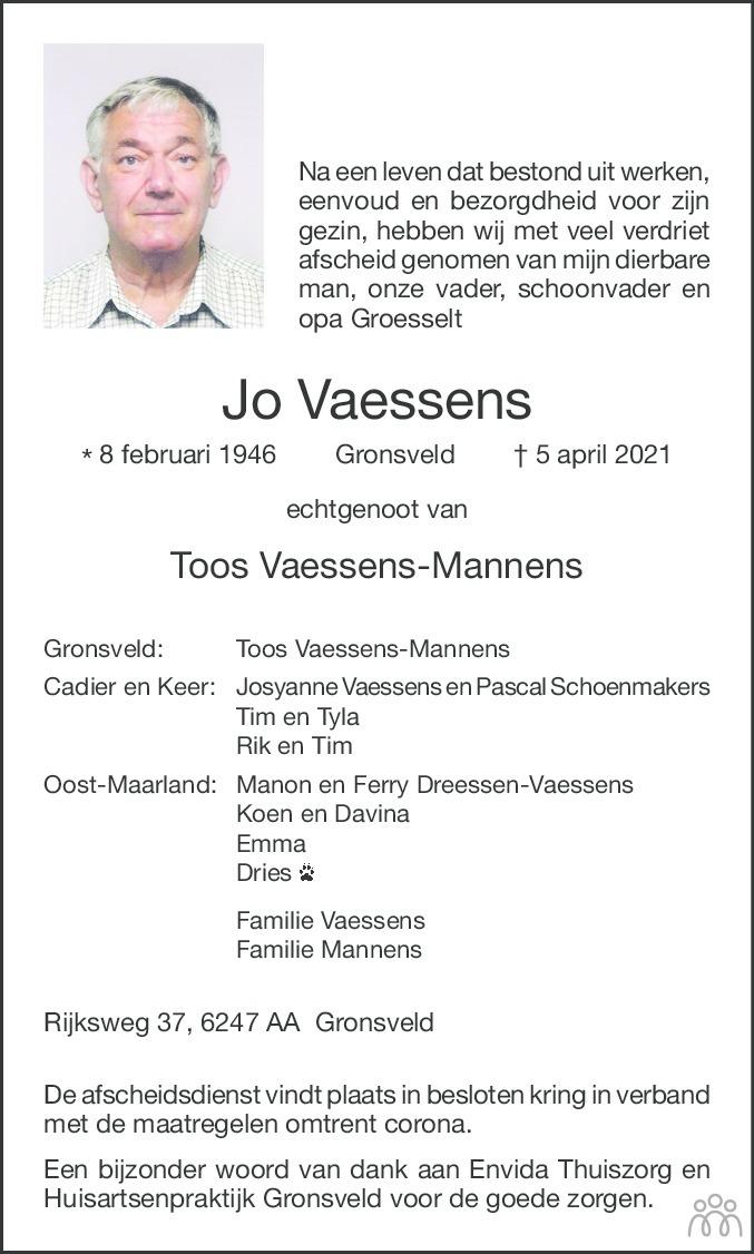 Overlijdensbericht van Jo Vaessens in De Limburger