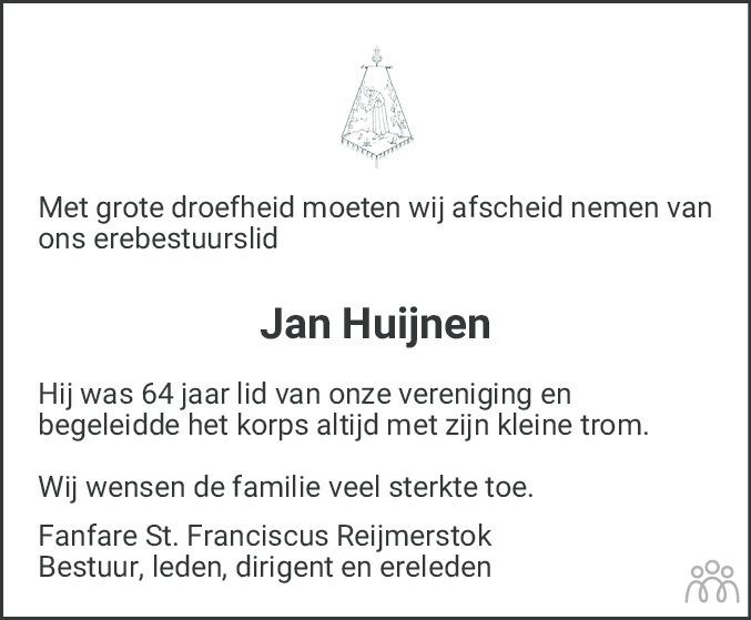 Overlijdensbericht van Jan Huijnen in De Limburger