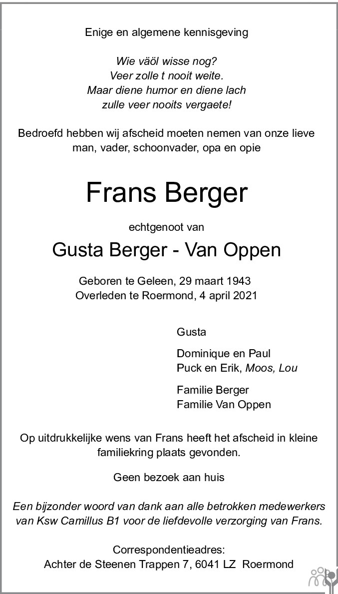 Overlijdensbericht van Frans Berger in De Limburger