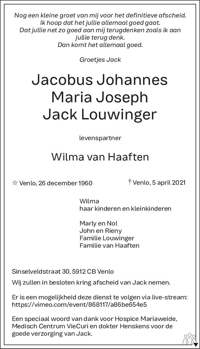 Overlijdensbericht van Jacobus Johannes Maria Joseph (Jack) Louwinger in De Limburger