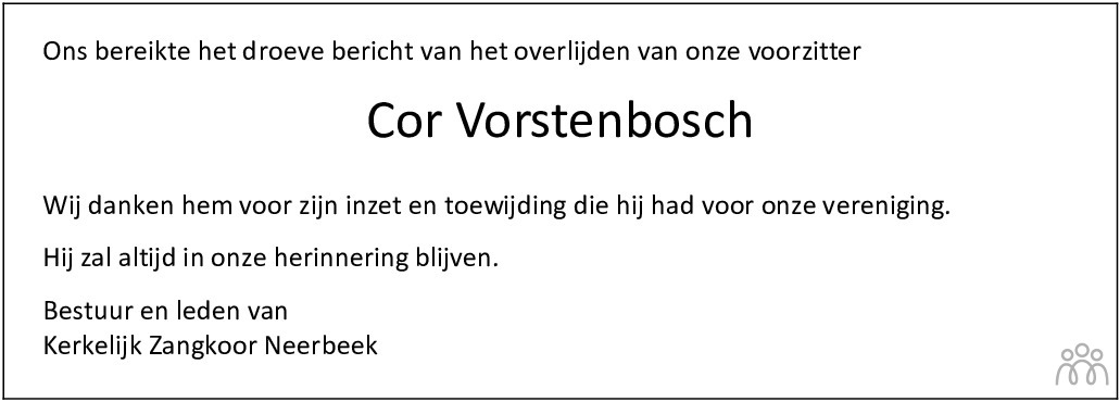 Overlijdensbericht van Cor (Cornelis Adrianus Jacobus Johanna) Vorstenbosch in De Limburger