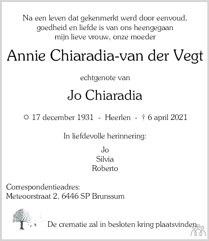 Overlijdensbericht van Annie Chiaradia-van der Vegt in De Limburger