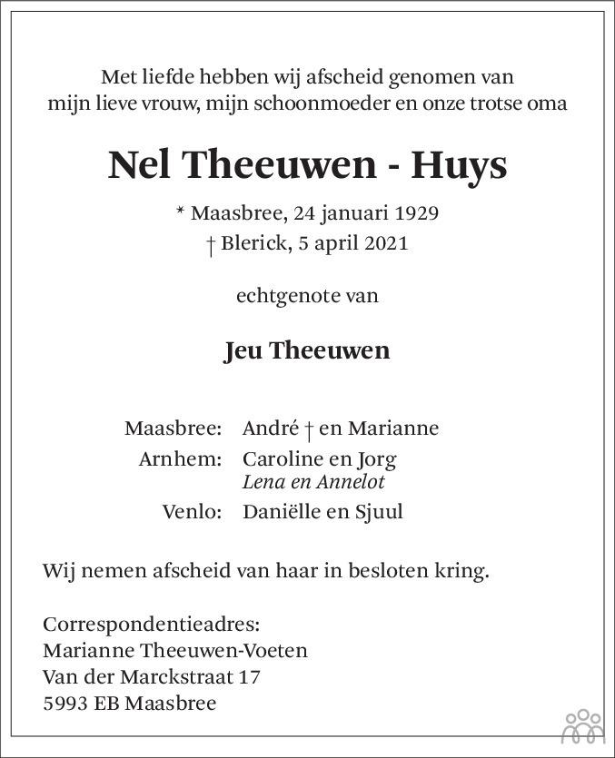 Overlijdensbericht van Nel Theeuwen-Huys in De Limburger
