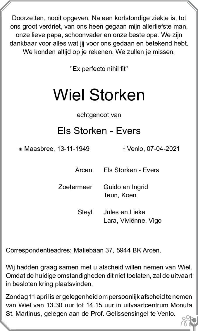 Overlijdensbericht van Wiel Storken in De Limburger
