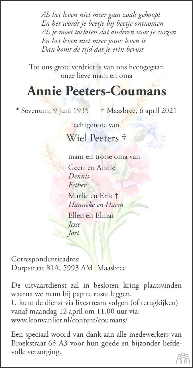 Overlijdensbericht van Annie Peeters-Coumans in De Limburger