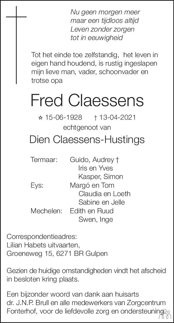 Overlijdensbericht van Fred Claessens in De Limburger