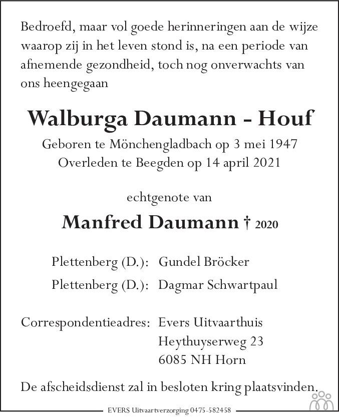 Overlijdensbericht van Walburga Daumann-Houf in De Limburger