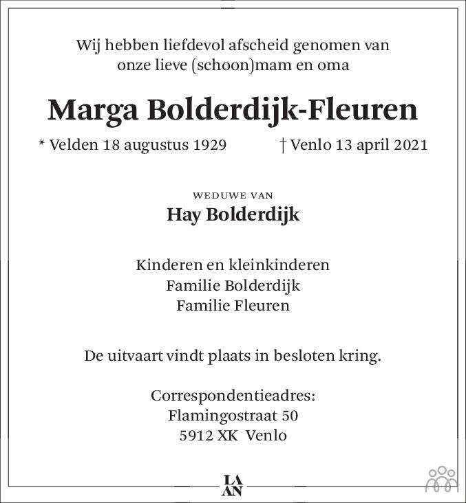 Overlijdensbericht van Marga Bolderdijk-Fleuren in De Limburger