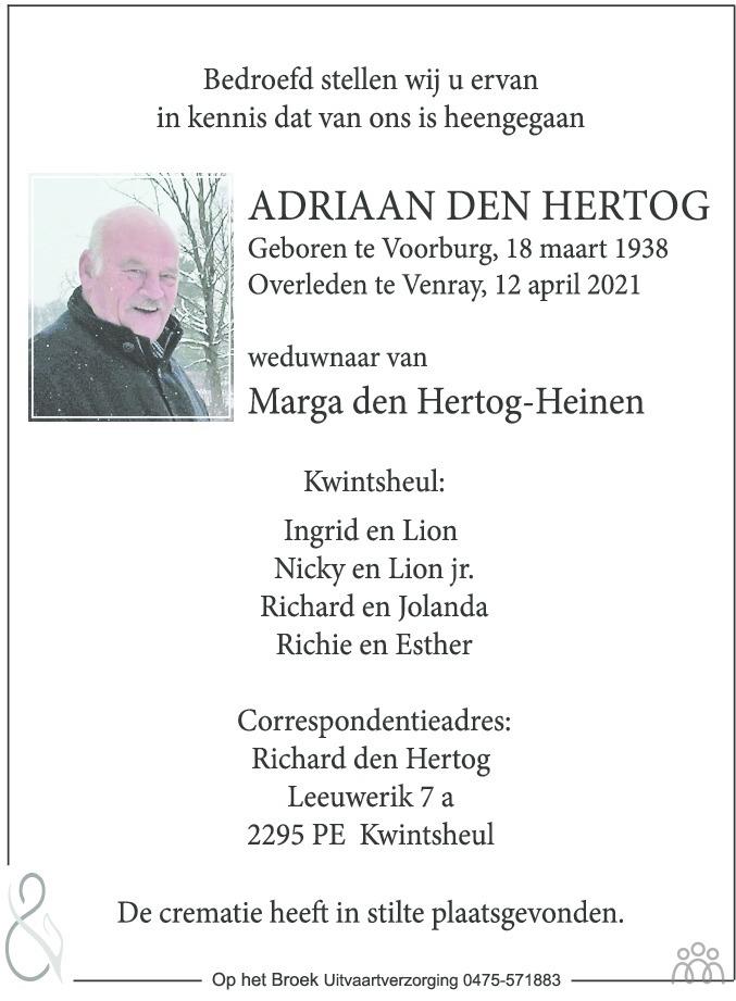 Overlijdensbericht van Adriaan den Hertog in De Limburger