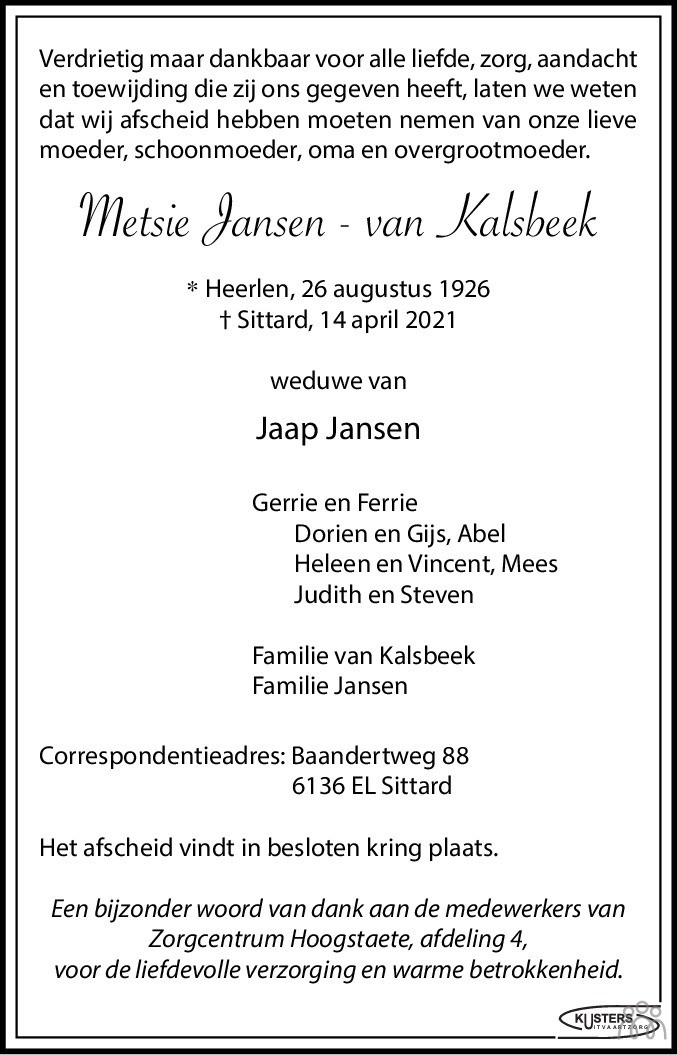 Overlijdensbericht van Metsie Jansen-van Kalsbeek in De Limburger