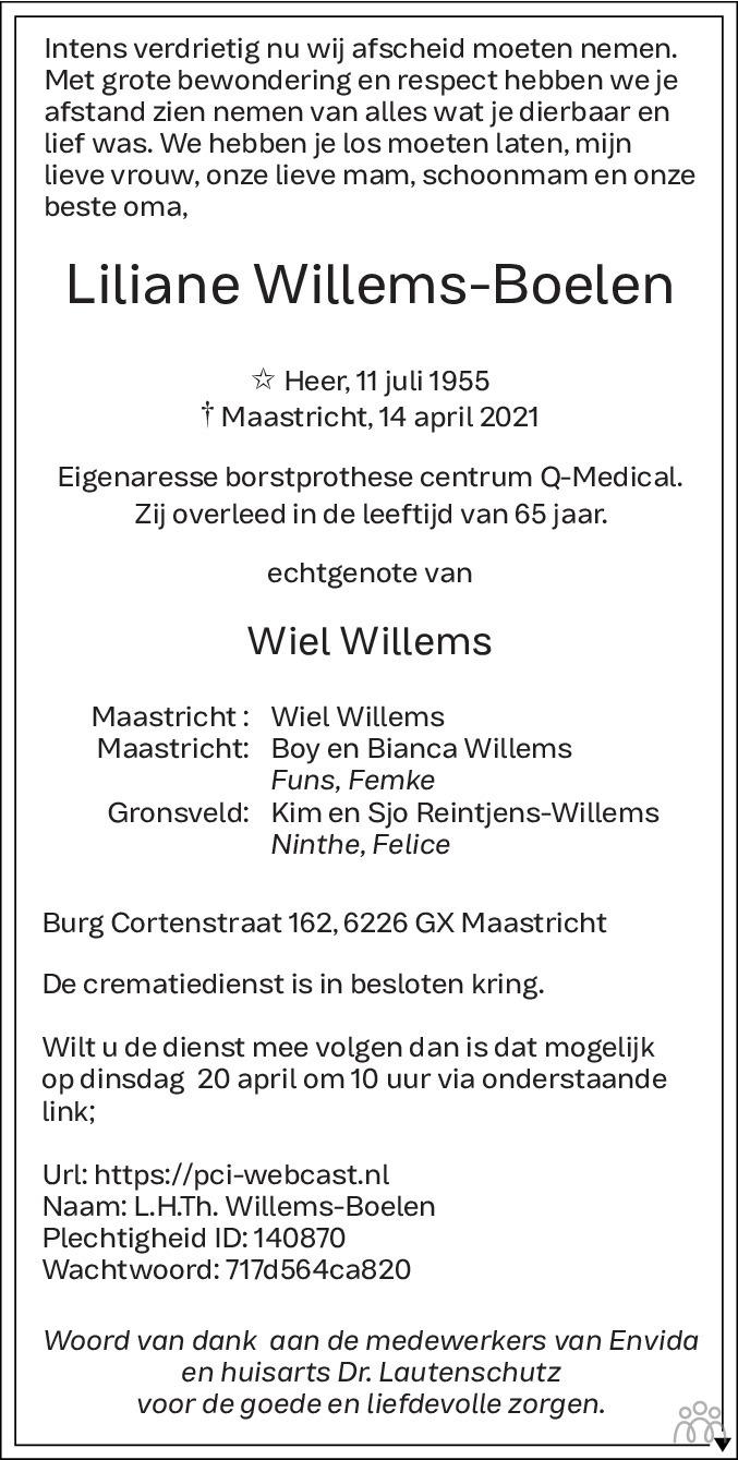 Overlijdensbericht van Liliane Willems-Boelen in De Limburger