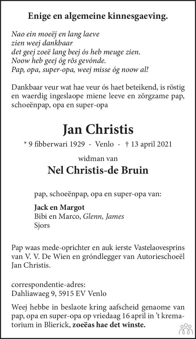 Overlijdensbericht van Jan Christis in De Limburger