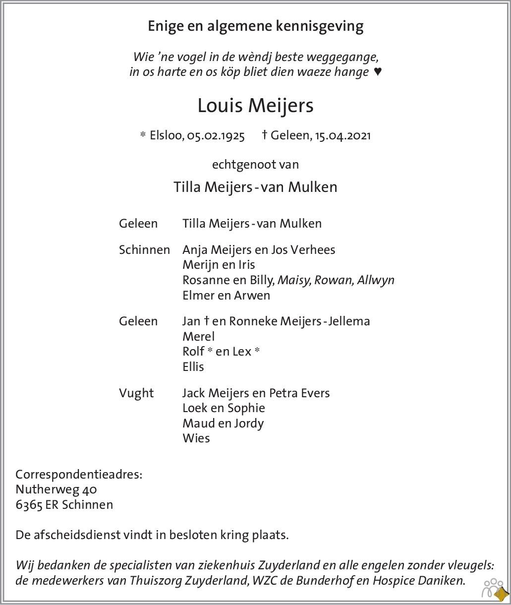Overlijdensbericht van Louis Meijers in De Limburger