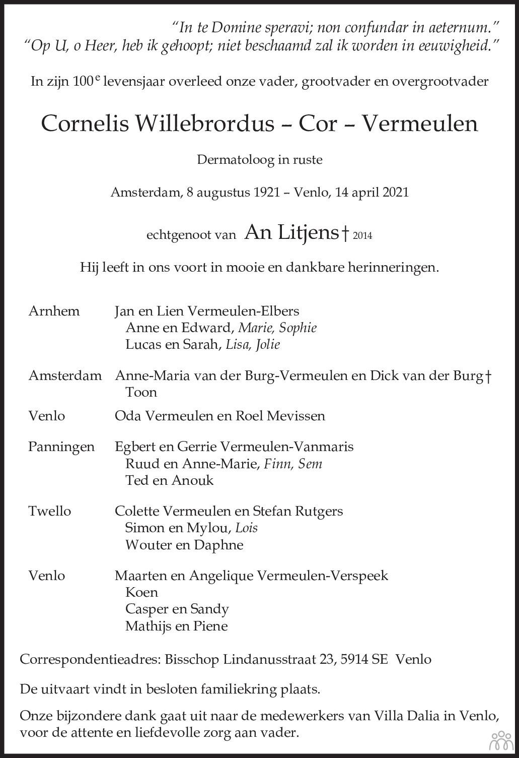 Overlijdensbericht van Cornelis Willebrordus (Cor) Vermeulen in De Limburger