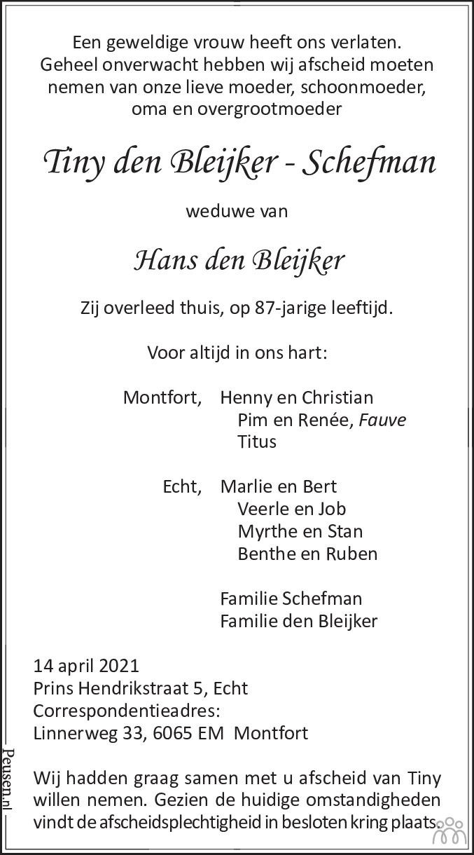 Overlijdensbericht van Tiny den Bleijker-Schefman in De Limburger