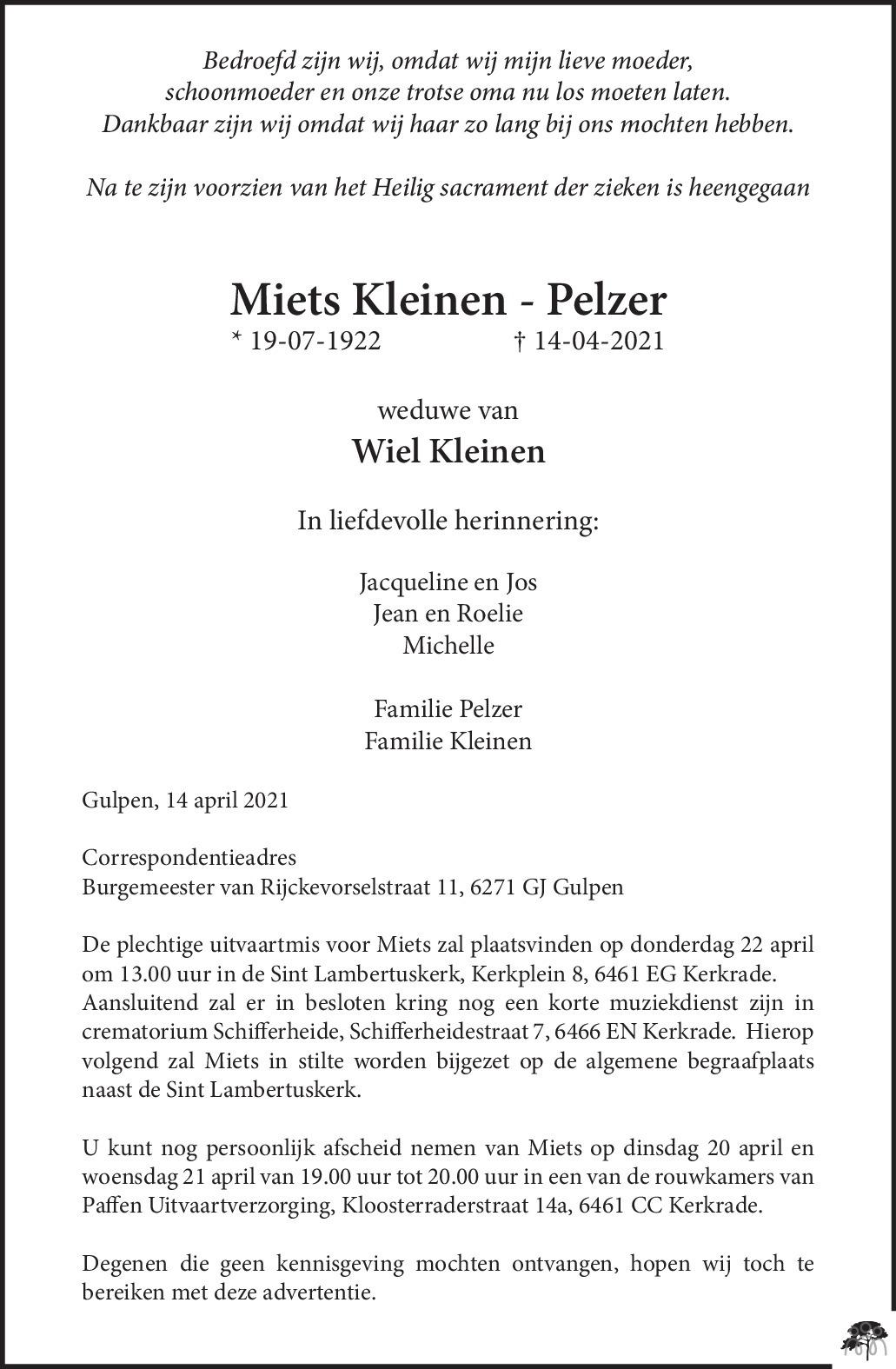 Overlijdensbericht van Miets Kleinen-Pelzer in De Limburger
