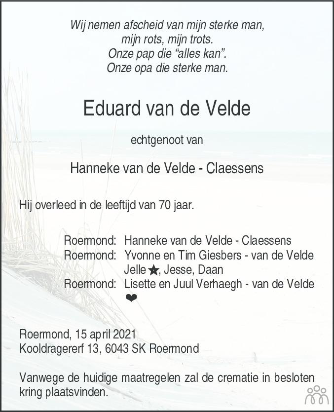 Overlijdensbericht van Eduard van de Velde in De Limburger