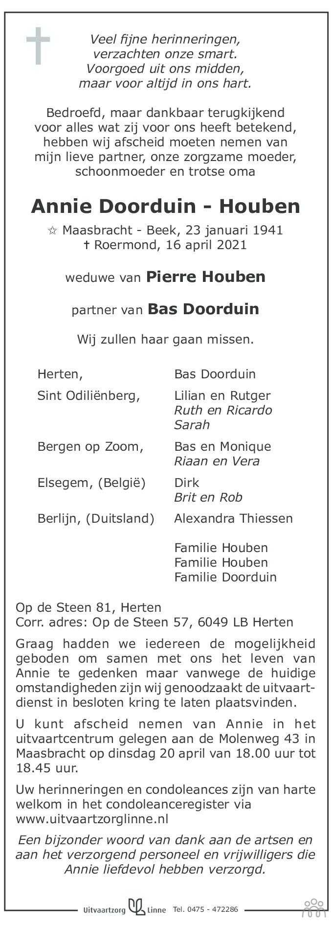 Overlijdensbericht van Annie Doorduin-Houben in De Limburger