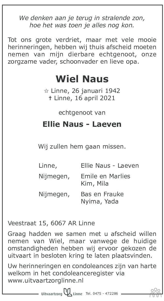 Overlijdensbericht van Wiel Naus in De Limburger